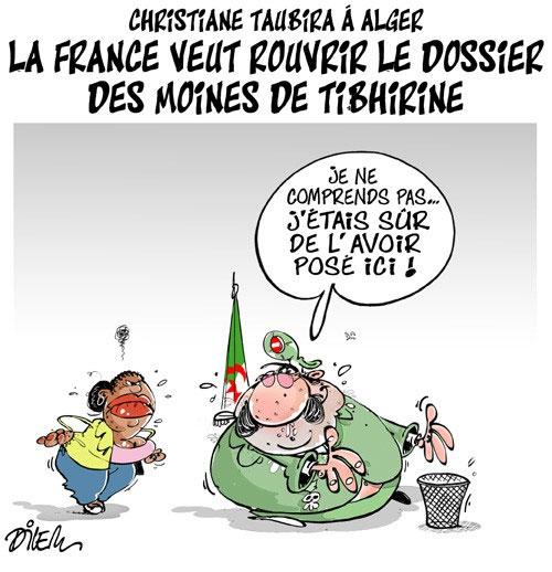 Christine Taubira à Alger: La France veut rouvrir le dossier des moines de Tibherine - Dilem - Liberté - Gagdz.com