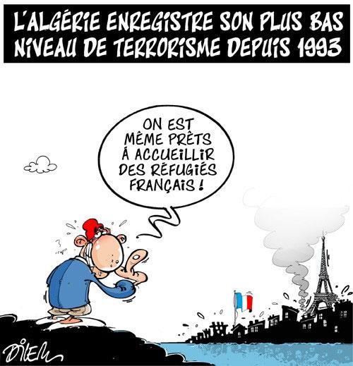 L'Algérie enregistre son plus bas niveau de terrorisme depuis 1993 - Dilem - Liberté - Gagdz.com