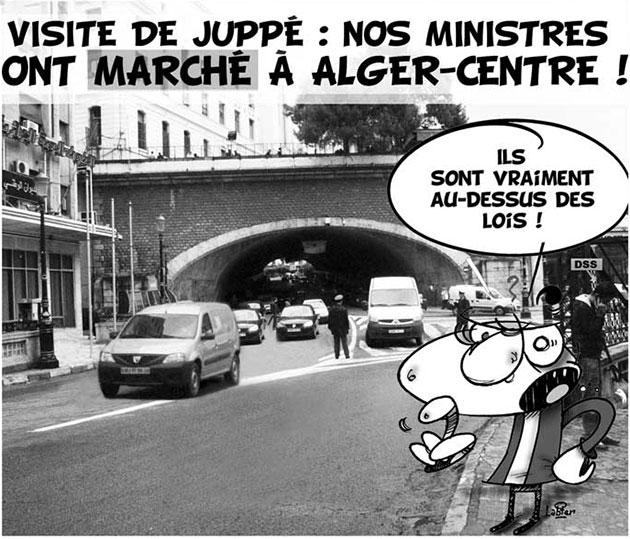 Visite de Juppé: Nos ministres ont marché à Alger-centre