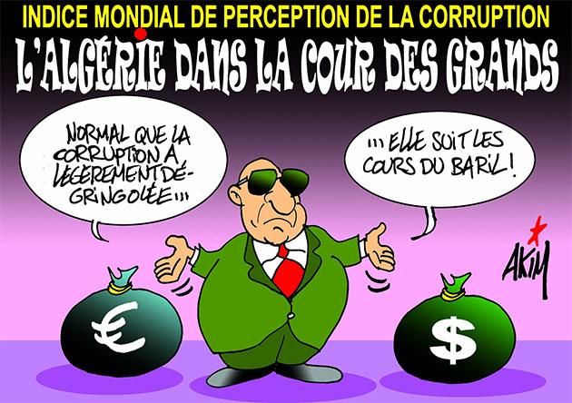 Indice mondial de perception de la corruption: L'Algérie dans la cour des grands
