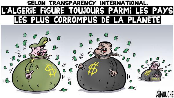 Selon transparency international: L'Algérie figure toujours parmi les pays les plus corrompus de la planète