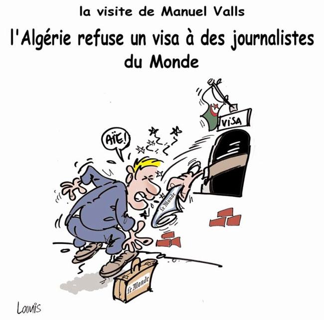 La visite de Manuel Valls: L'Algérie refuse un visa à des journalistes du Monde