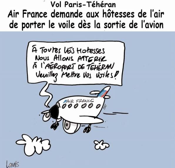 Vol Paris-Téhéran: Air France demande aux hôtesses de l'air de porter le voile dès la sortie de l'avion