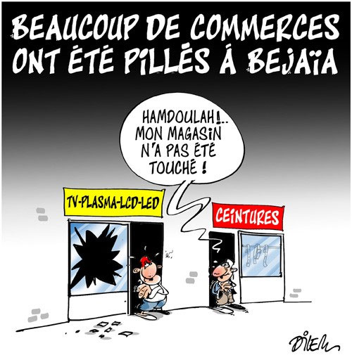 Beaucoup de commerces ont été pillés à Béjaïa
