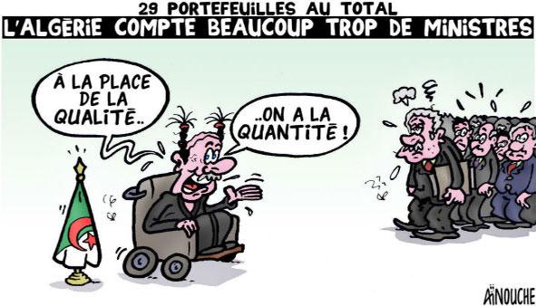 29 portefeuilles au total: L'Algétie compte beaucoup trop de ministres