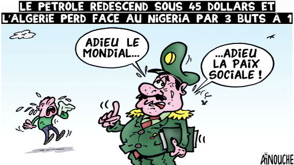 Le pétrole redescend sous 45 dollars et l'Algérie perd face au Nigeria par 3 buts à 1