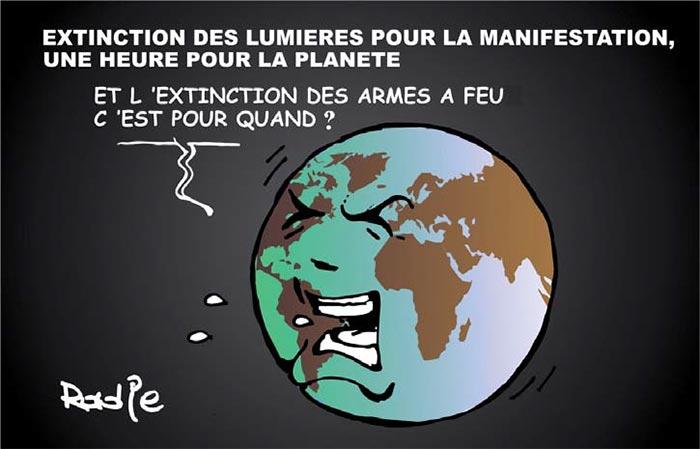 Extinction des lumières pour la manifestation une heure pour la planète