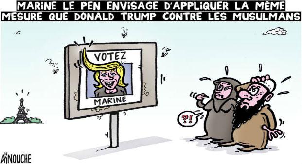 Marine Le Pen envisage d'appliquer la même mesure que Donald Trump contreles musulmans