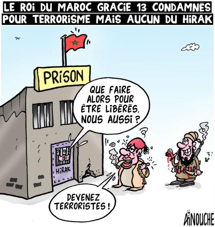 Le roi du maroc gracie 13 condamnés pour terrorisme mais aucun du Hirak