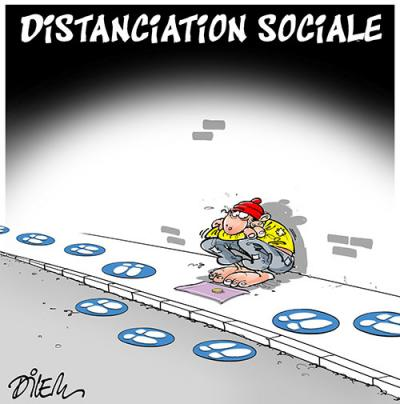 Distanciation sociale des sans-abris - Dilem - TV5 - Gagdz.com