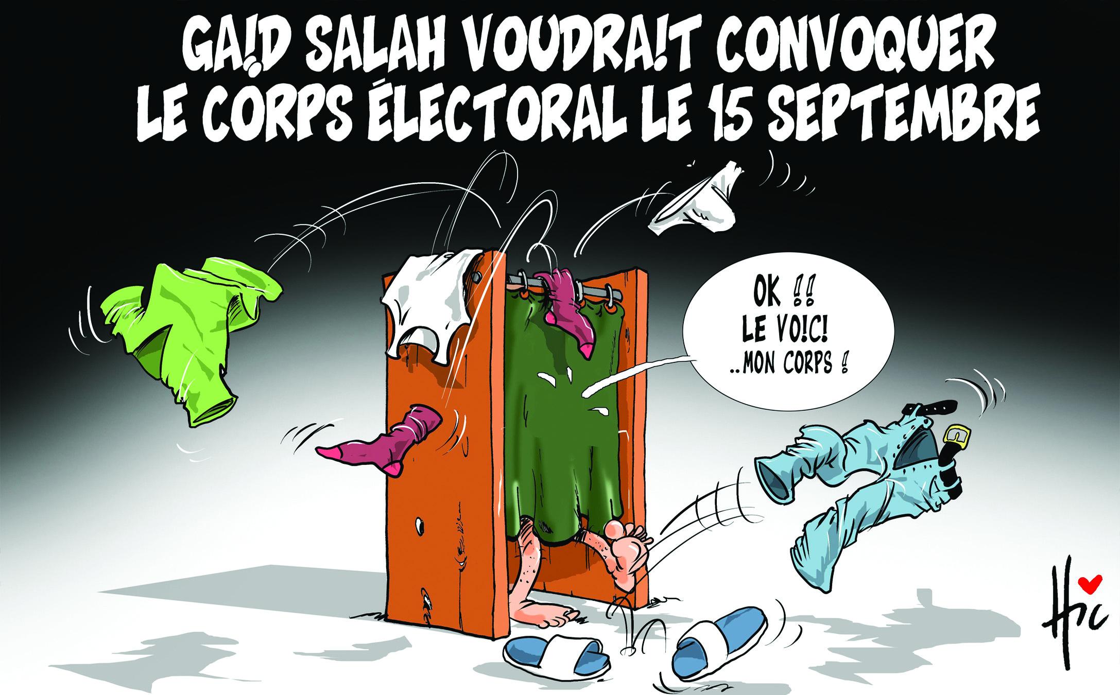 Gaid Salah voudrait convoquer le corps électoral le 15 septembre - Dessins et Caricatures, Le Hic - El Watan - Gagdz.com