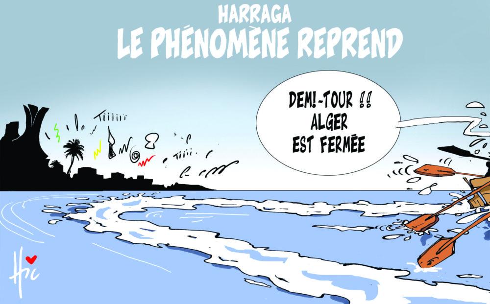 Harraga : Le phénomène reprend - Dessins et Caricatures, Le Hic - El Watan - Gagdz.com