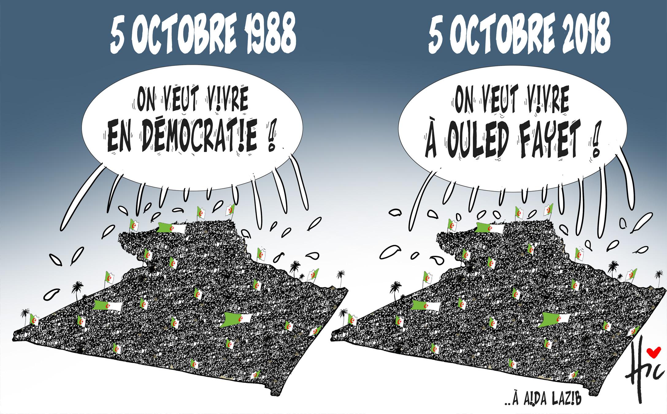 La différence entre le 5 octobre 1988 et le 5 octobre 2018 en Algérie - Dessins et Caricatures, Le Hic - El Watan - Gagdz.com