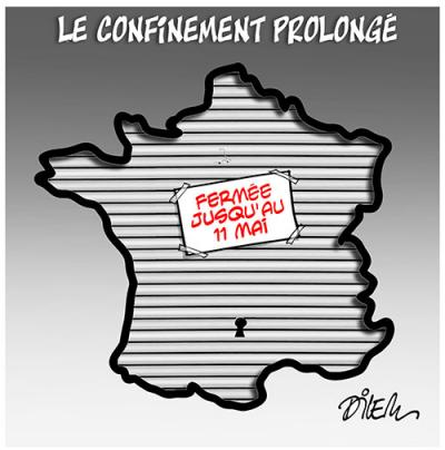 Le confinement prolongé jusqu'au 11 mai en France. La France à l'arrêt. - Dilem - TV5 - Gagdz.com