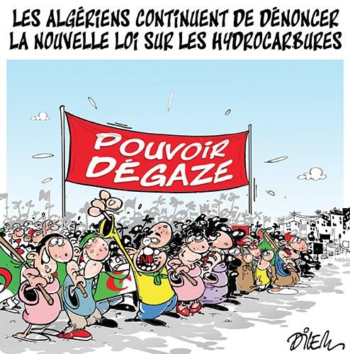 Les algériens continuent de dénoncer la nouvelle loi sur les hydrocarbures - Dilem - Liberté - Gagdz.com