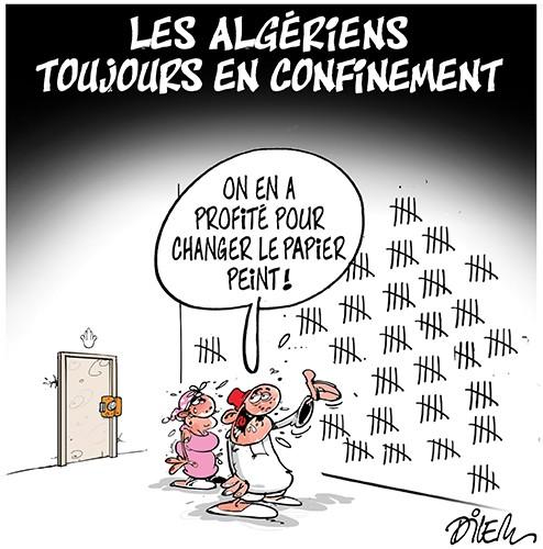 Les algériens toujours en confinement - Dilem - Liberté - Gagdz.com