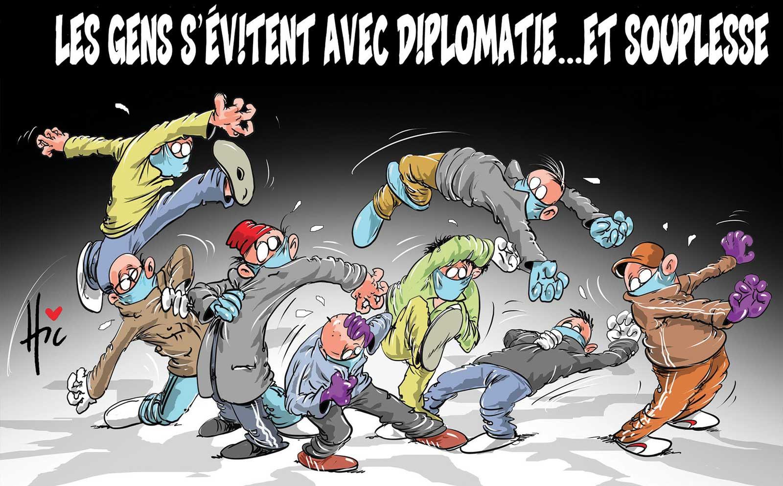 Les gens s'évitent avec diplomatie et souplesse - Dessins et Caricatures, Le Hic - El Watan - Gagdz.com