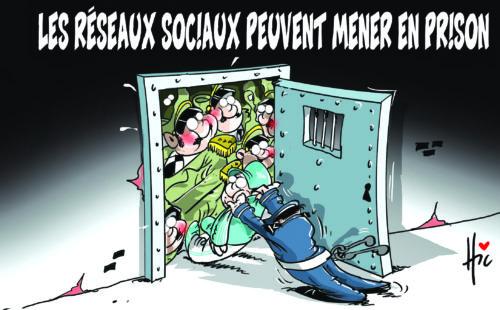 Les réseaux sociaux peuvent mener en prison - Dessins et Caricatures, Le Hic - El Watan - Gagdz.com