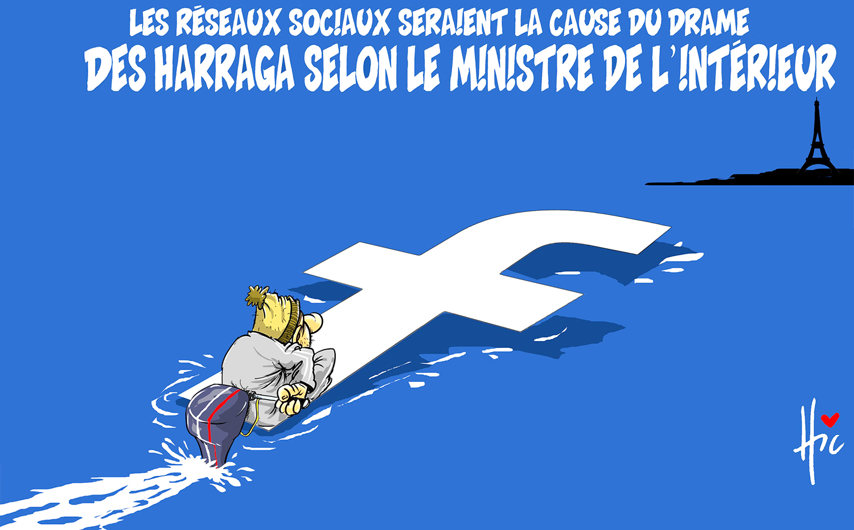 Les réseaux sociaux seraient la cause du drame des harraga selon le ministre de l'intérieur - Dessins et Caricatures, Le Hic - El Watan - Gagdz.com