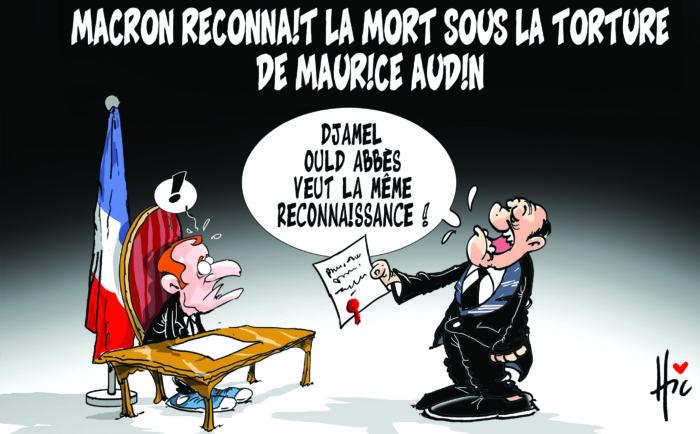 Macron reconnaît la mort sous la torture de Maurice Audin - Dessins et Caricatures, Le Hic - El Watan - Gagdz.com
