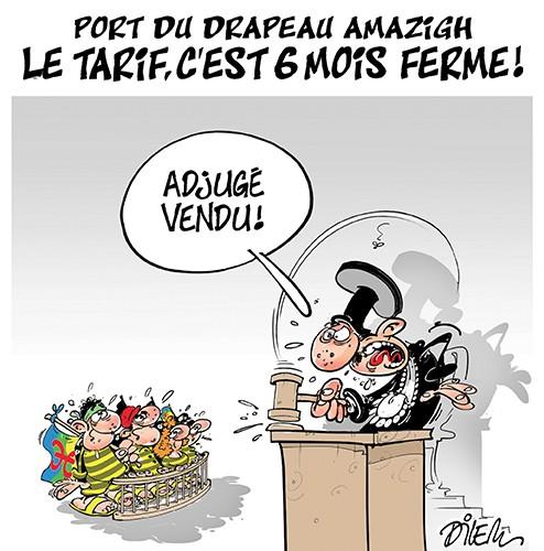 Port du drapeau amazigh le tarif c'est 6 mois ferme - Dilem - Liberté - Gagdz.com