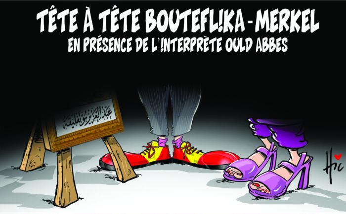 Tête à tête Bouteflika Merkel : En présence de l'interprète Ould Abbes - Dessins et Caricatures, Le Hic - El Watan - Gagdz.com
