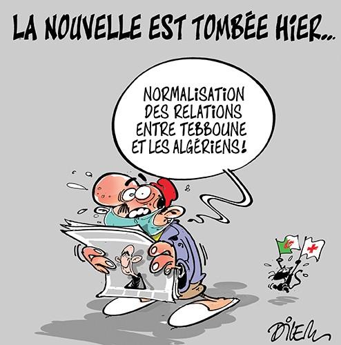 La nouvelle est tombée hier, normalisation des relations entre Tebboune et les algériens - Dilem - Liberté - Gagdz.com