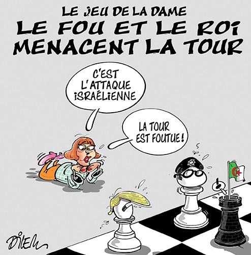 Le jeu de la dame, le fou et le roi menacent la tour - Dilem - Liberté - Gagdz.com